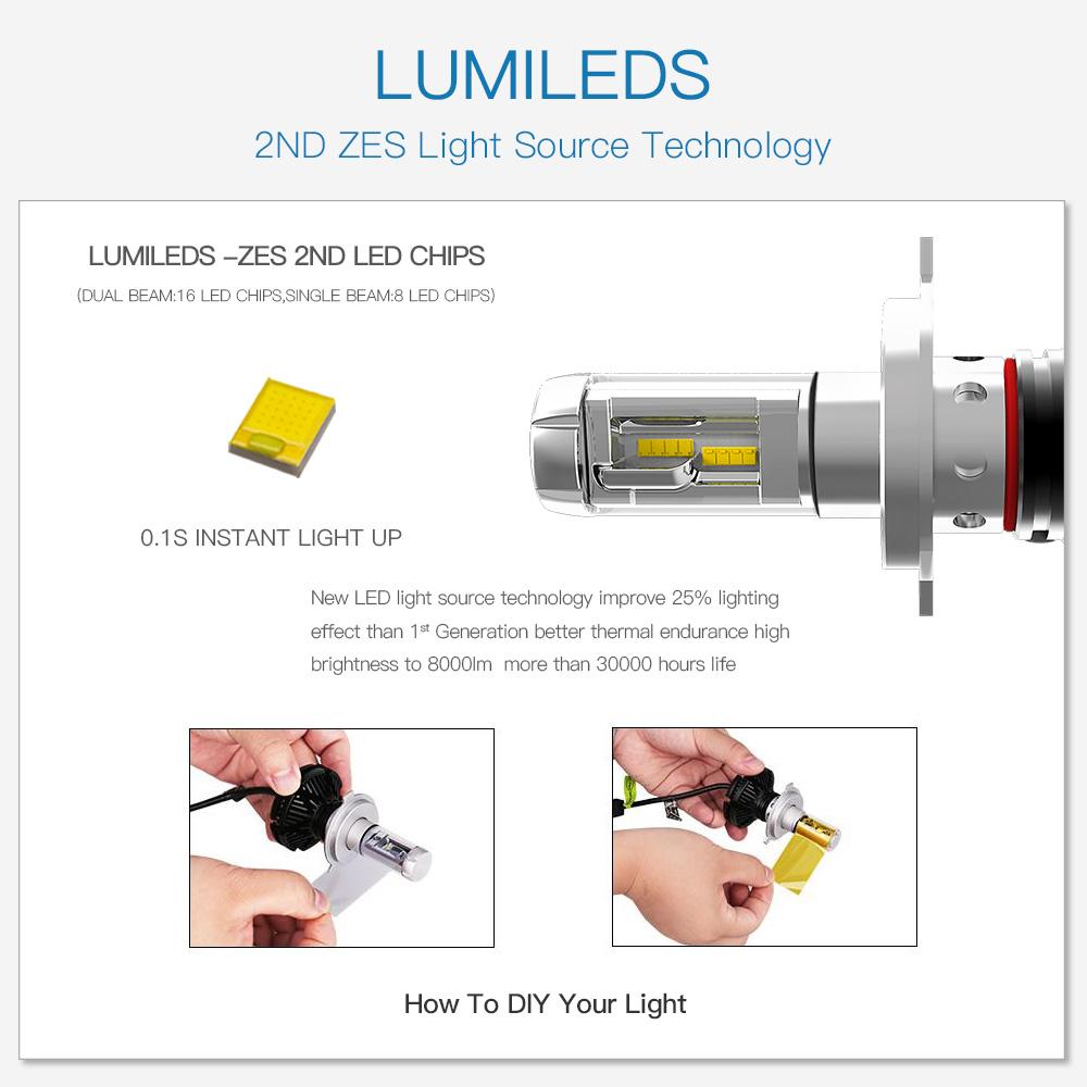 Atv Utv Led Headlight Kit H4 9003 Bulbs For Yamaha Grizzly 550 700 Bulb Wiring Diagram Viking