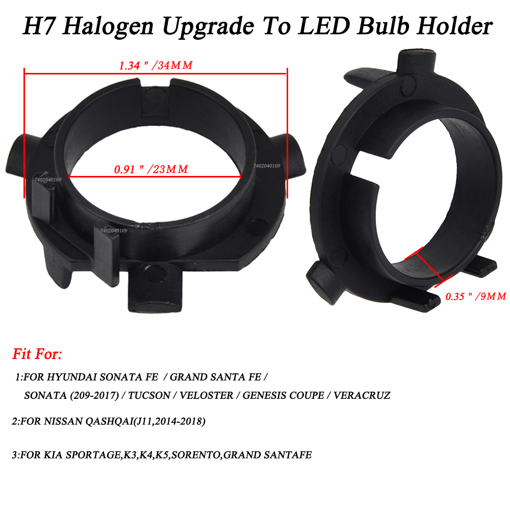 2x H7 Led Bulb Holder Adapter For Hyundai Veloster Santa
