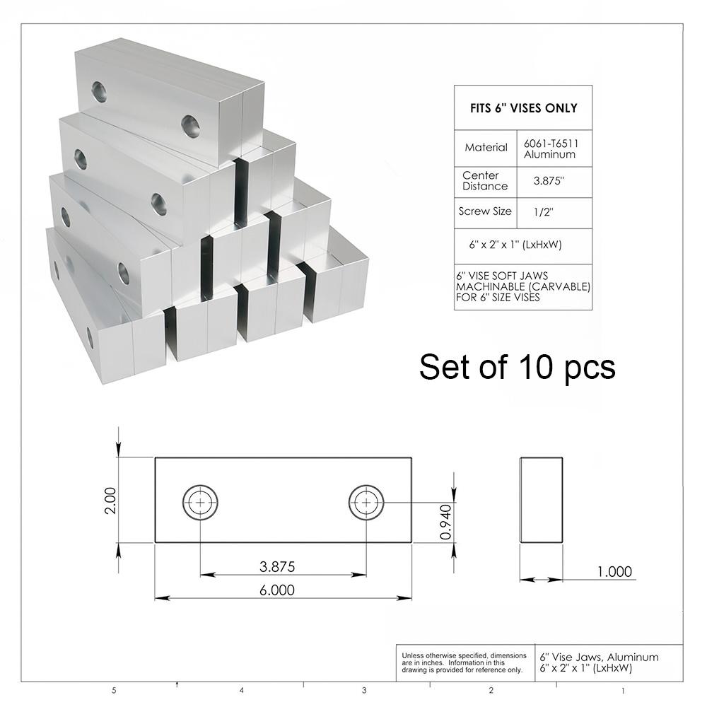 "1 SET 6/"" x 2/"" x 1/"" Standard Aluminum Soft Jaws Set Fits Kurt 6/"" Vises"
